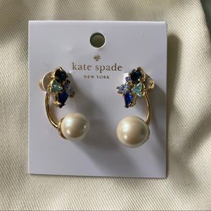 Kate Spade Pearl and Blue Crystal Earrings